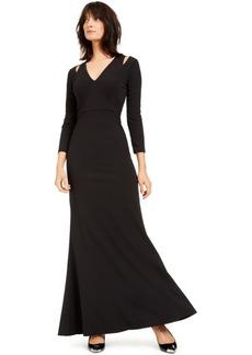 Calvin Klein Split-Shoulder Gown