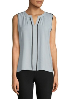 Split V-Neck Piped Blouse
