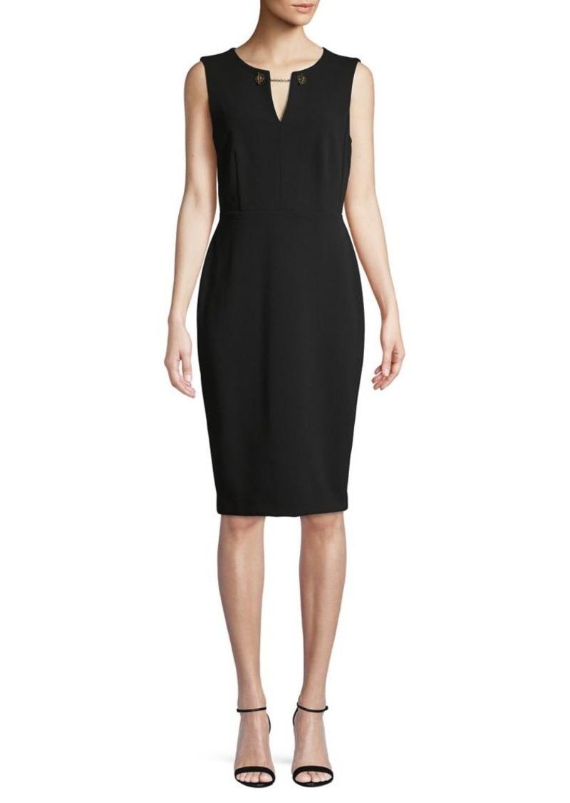 Calvin Klein Splitneck Grommet Chain Sheath Dress