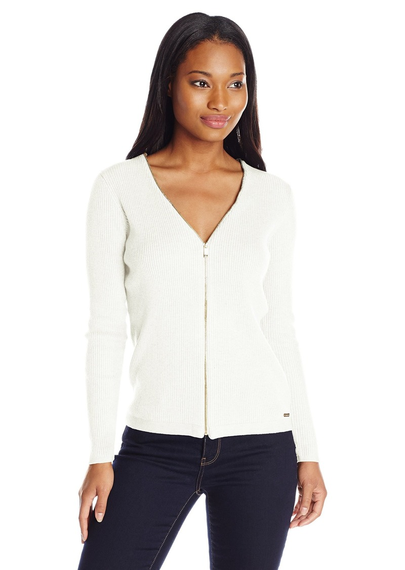 Calvin Klein Sportswear Women's Ribbed Zipper-Front Cardigan Sweater  L