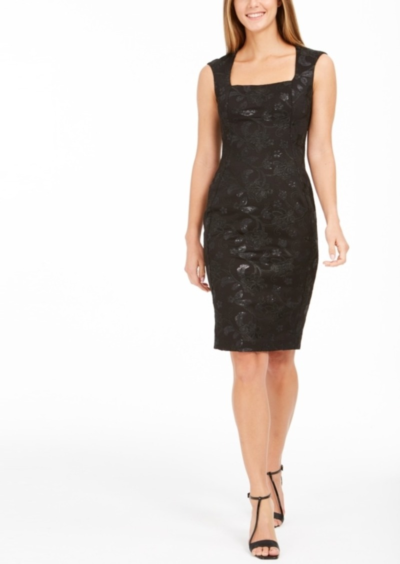 Calvin Klein Square-Neck Sequin Scuba Dress