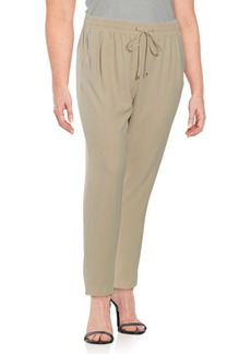 Calvin Klein Plus Staight-Leg Drawstring Dress Pants