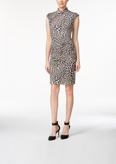 Calvin Klein Stand-Collar Printed Sheath Dress