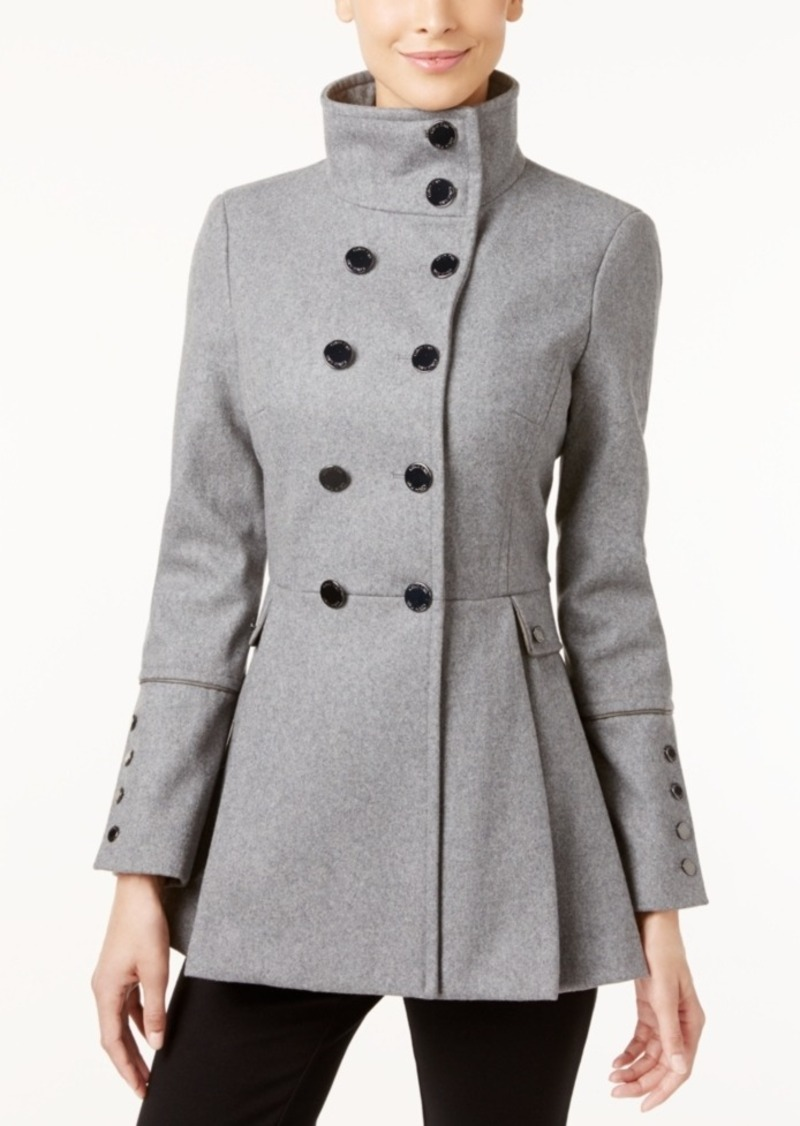Calvin Klein Stand-Collar Skirted Peacoat