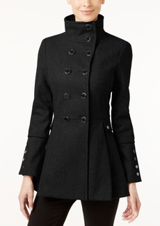 Calvin Klein Stand-Collar Skirted Walker Coat