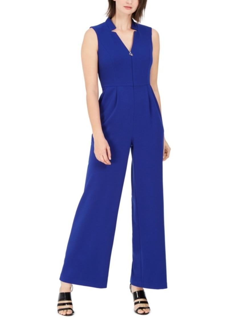 Calvin Klein Star-Neck Scuba Crepe Jumpsuit