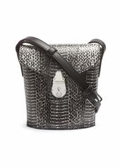 Calvin Klein Statement Series Lock Daytonna Leather Mini Bucket Crossbody Bag BLACK