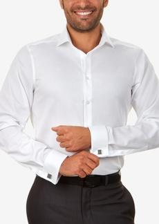 Calvin Klein Steel Men's Slim-Fit Non-Iron Performance Herringbone French Cuff Dress Shirt
