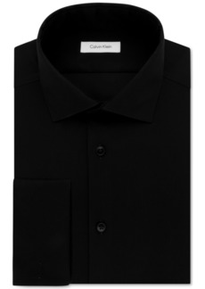Calvin Klein Steel Men's Slim-Fit Non-Iron Performance Herringbone French Cuff Dress Shirt