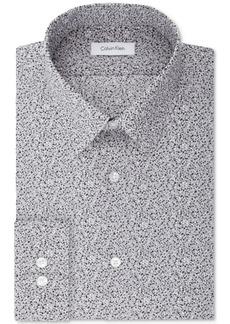 Calvin Klein Steel Men's Slim-Fit Non-Iron Stretch Performance Gray Print Dress Shirt