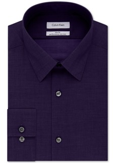 Calvin Klein Steel Non-Iron Slim-Fit Herringbone Solid Performance Dress Shirt