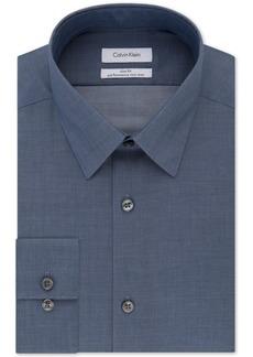 Calvin Klein Steel Non-Iron Slim-Fit Herringbone Solid Performance Dress Shirt