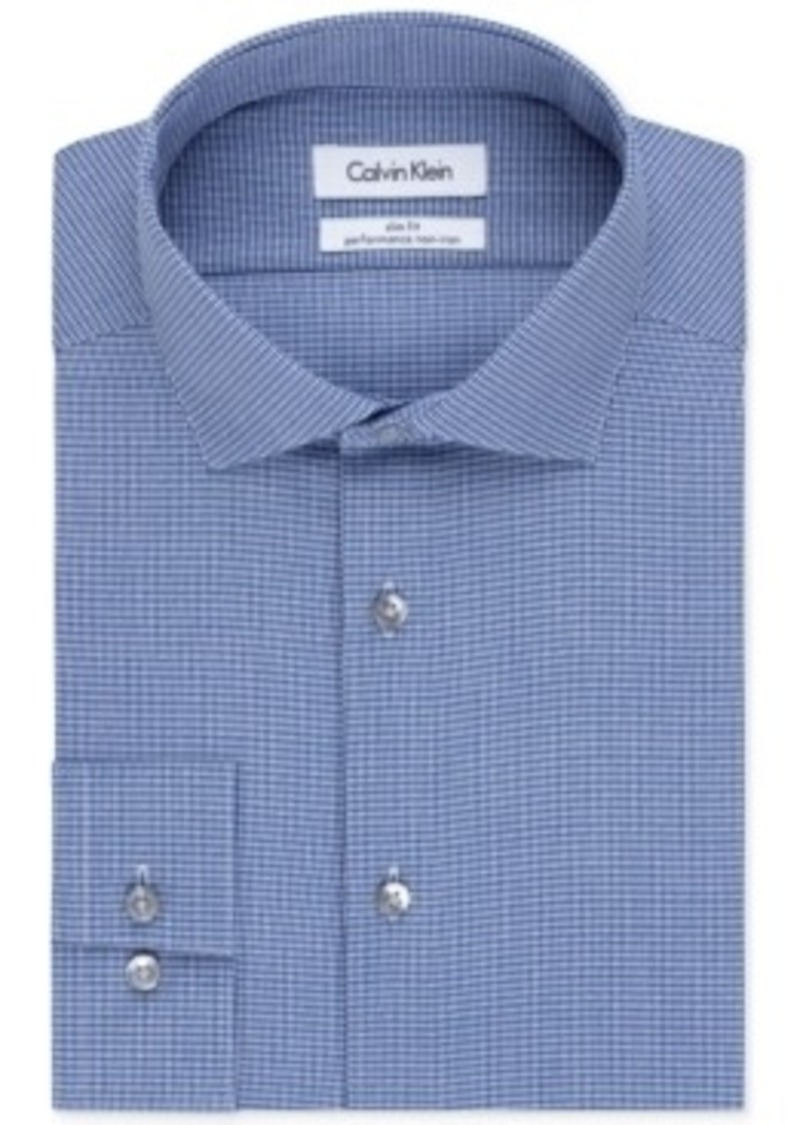 Calvin klein calvin klein steel slim fit non iron empire for Blue check dress shirt
