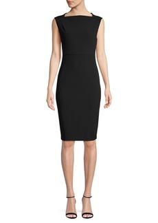 Calvin Klein Straight-Neck Scuba Crepe Sheath Dress