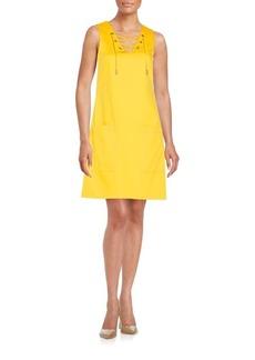 Calvin Klein Stretch-Cotton A-Line Dress