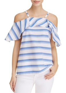 Calvin Klein Stripe Cold Shoulder Ruffle Top