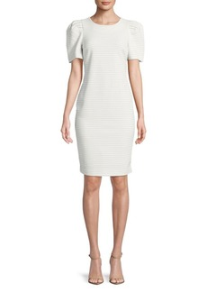Calvin Klein Stripe Puff-Sleeve Dress