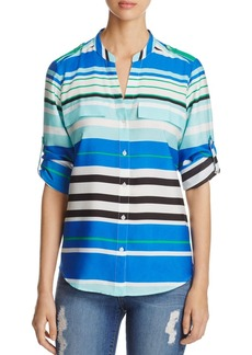 Calvin Klein Stripe Roll Sleeve Top