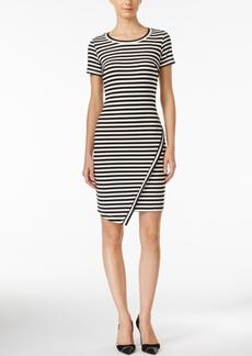 Calvin Klein Striped Asymmetrical-Hem Sheath Dress