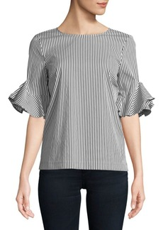 Calvin Klein Striped Bell Sleeve Top