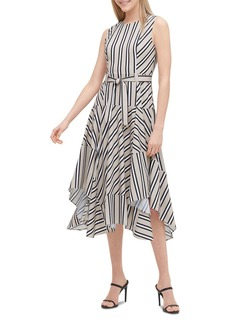 Calvin Klein Striped Belted Handkerchief-Hem Dress
