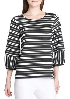 Calvin Klein Striped Bubble-Sleeve Blouse