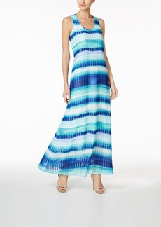 Calvin Klein Striped Chiffon U-Neck Maxi Dress