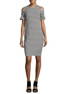Calvin Klein Striped Cold-Shoulder Dress