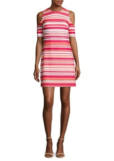 Calvin Klein Striped Cold-Shoulder Dress