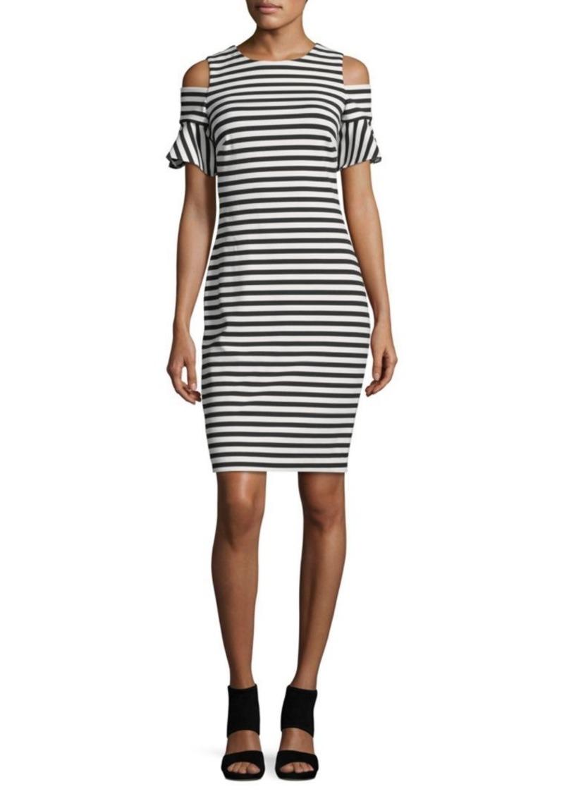Calvin Klein Striped Cold Shoulder Dress Dresses