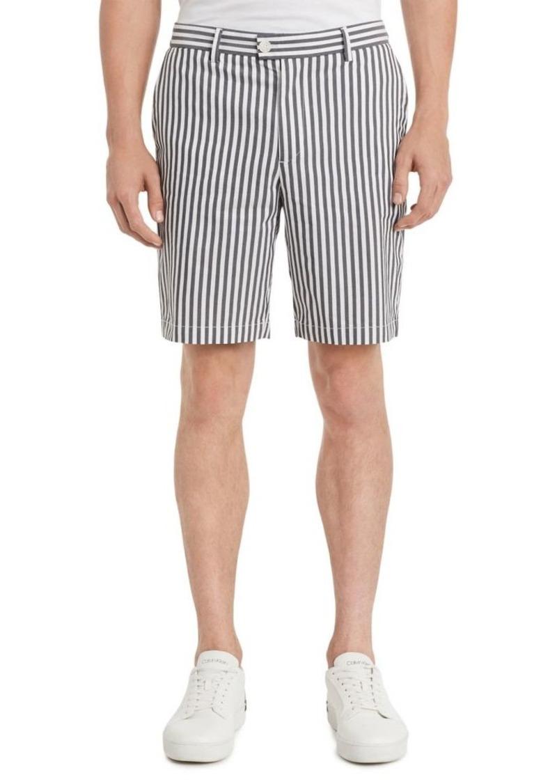 Calvin Klein Classic-Fit Stripe Flat-Front Shorts