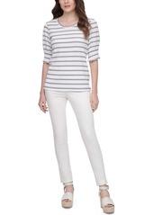 Calvin Klein Striped Elbow-Sleeve Top