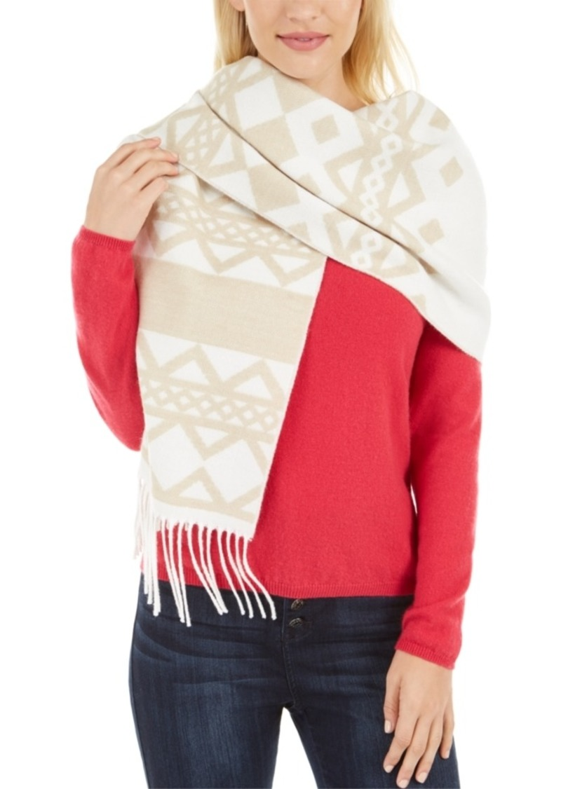 Calvin Klein Striped Fair Isle Blanket Scarf