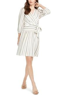 Calvin Klein Striped Faux-Wrap Dress
