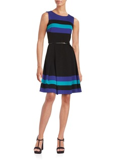 CALVIN KLEIN Striped Fit-and-Flare Dress