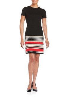 CALVIN KLEIN Striped Knit Sheath Dress