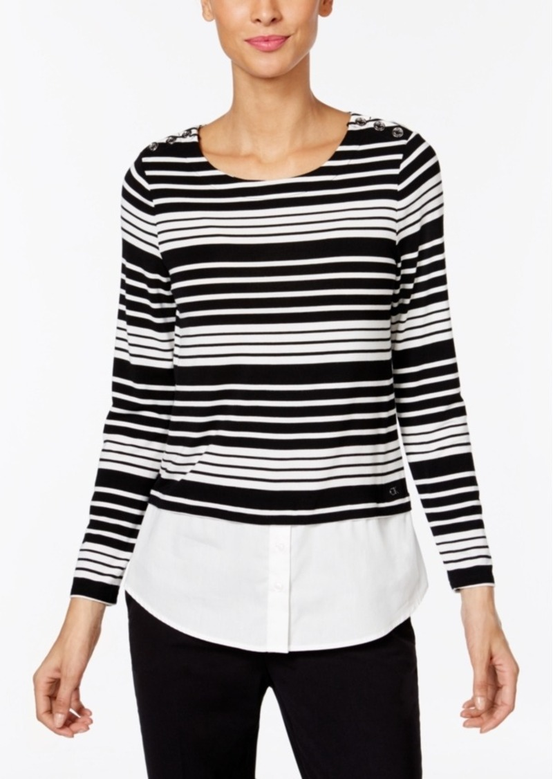 Calvin Klein Striped Layered-Look Sweater