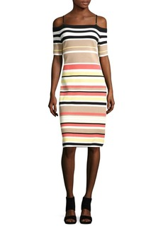 Calvin Klein Striped Off-The-Shoulder Dress