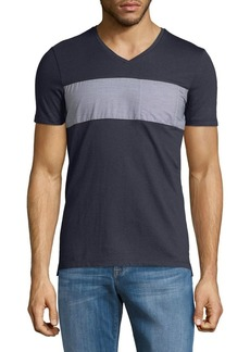Calvin Klein Striped-Paneled Cotton Tee
