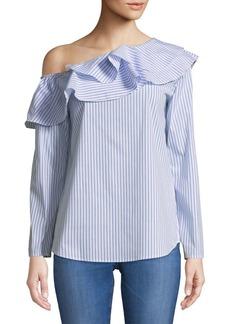 Calvin Klein Striped Ruffle Blouse