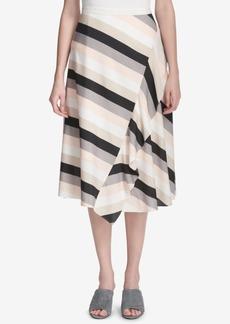 Calvin Klein Striped Ruffled Skirt