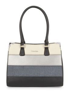 CALVIN KLEIN Striped Saffiano Leather Satchel
