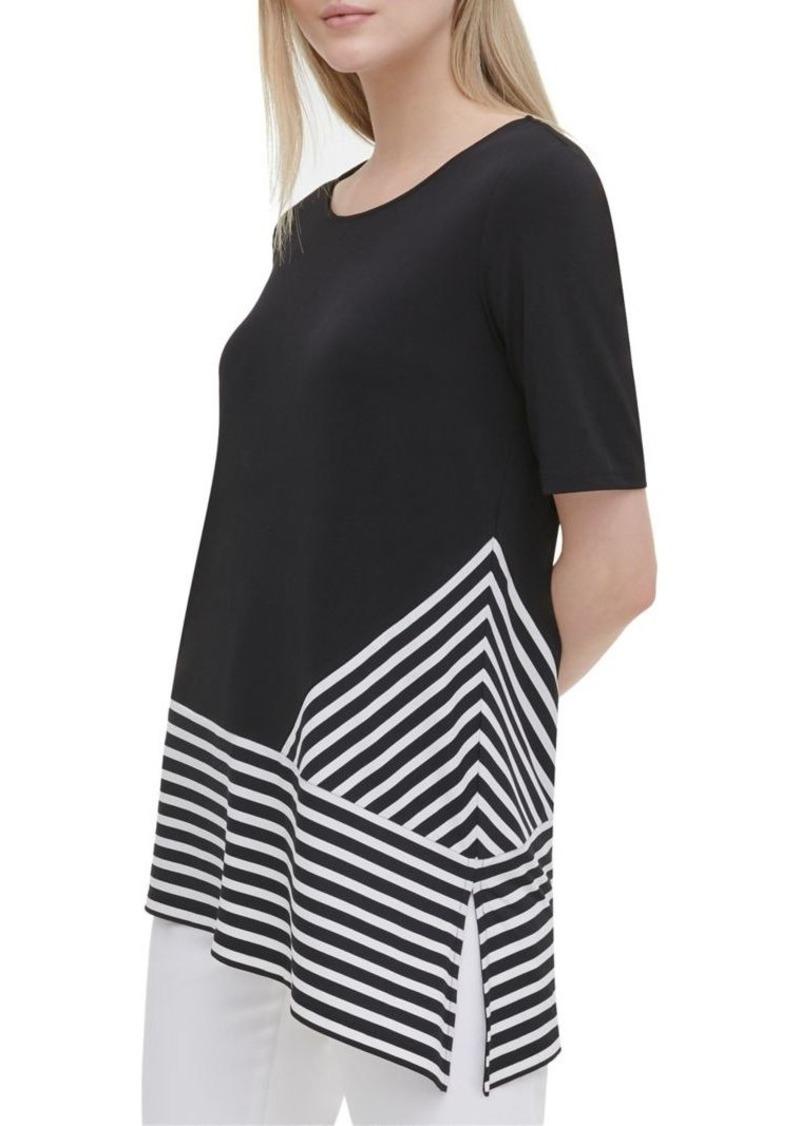 Calvin Klein Striped Side Slit Long T-Shirt