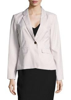 Calvin Klein Striped Single Button Blazer