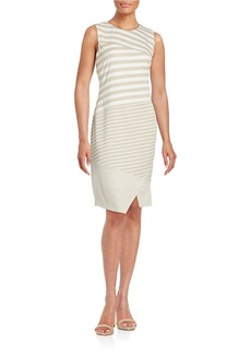 CALVIN KLEIN Striped Sleeveless Sheath Dress