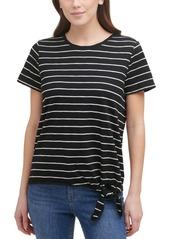 Calvin Klein Striped Tie-Waist Top