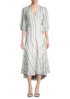 Calvin Klein Striped Wrap Front Dress