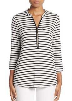 Striped Zip-Neck Top