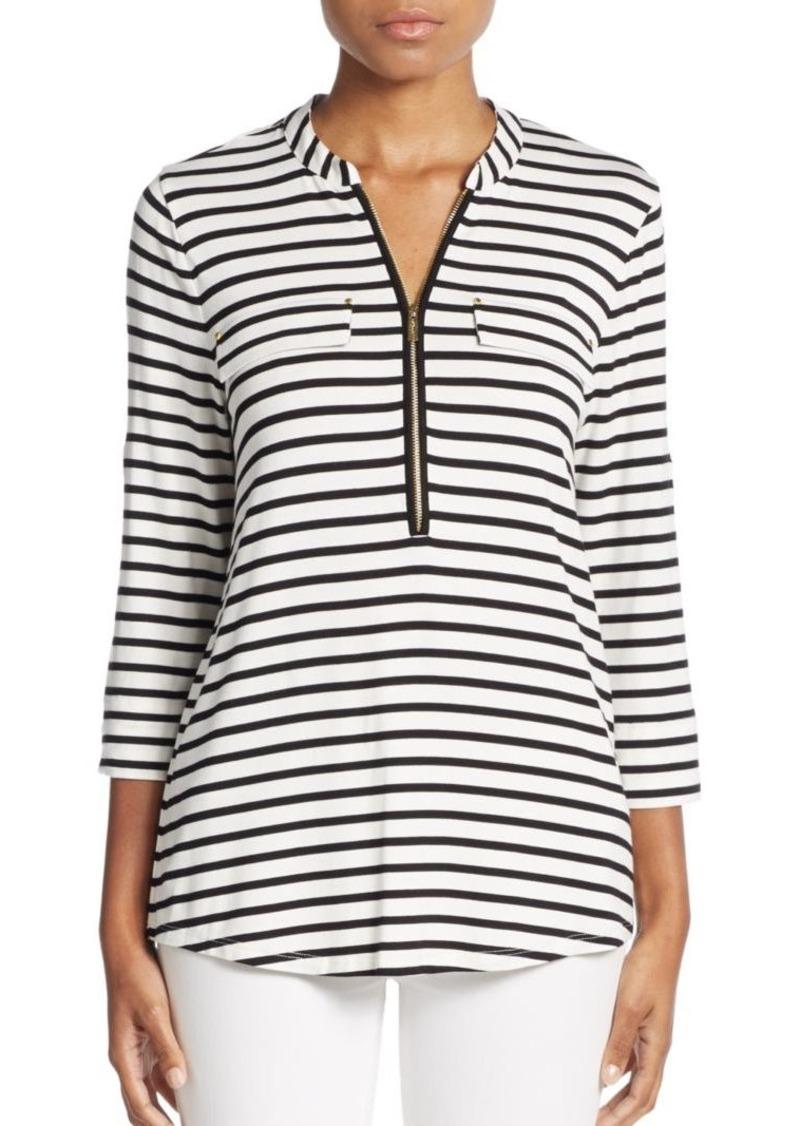 Calvin Klein Striped Zip-Neck Top
