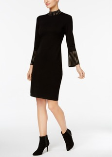 Calvin Klein Studded Bell-Sleeved Sweater Dress